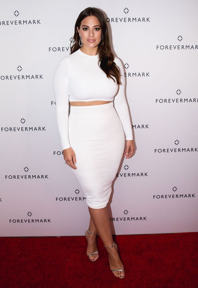On Ashley Graham: MESHKI Mila Long Sleeve Crop Top ($38) and Ailana Jesey Midi Skirt ($38); Forevermark jewelry Similar Style: Glamorous Silver Barely There...