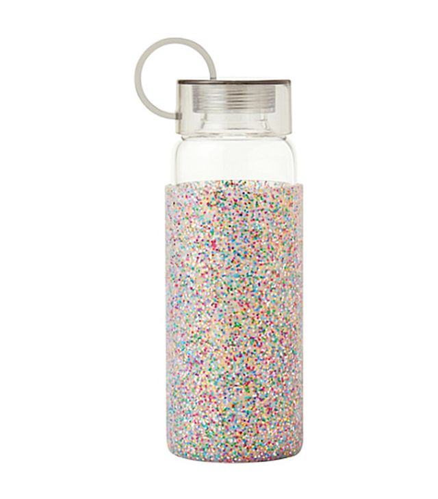 Workout recovery: Kate Spade Glitter Glass Water Bottle