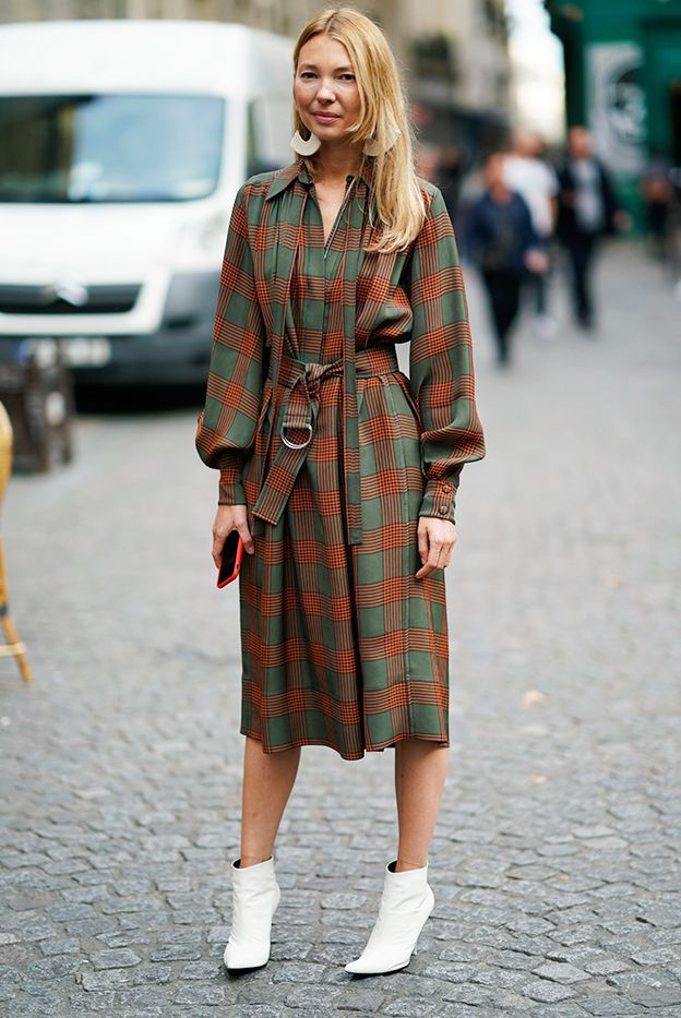 wearing a dress with ankle boots