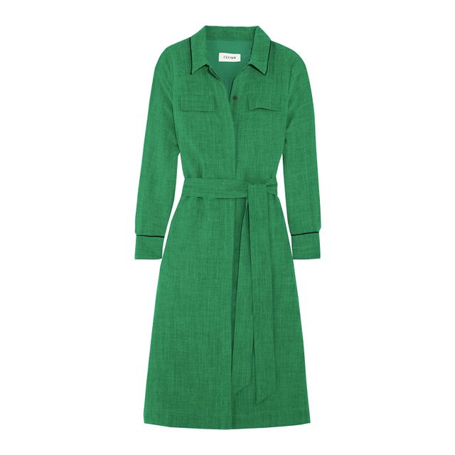 how to wear ankle boots with dresses: Cefinn Belted Voile Shirt Dress