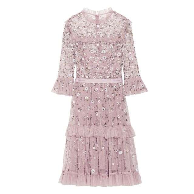 how to wear ankle boots with dresses: Needle & Thread Twilight Tiered Embellished Tulle Dress