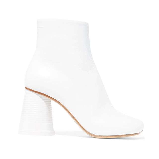 how to wear ankle boots with dresses: MM6 Maison Margiela Leather Ankle Boots
