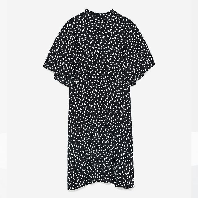 how to wear ankle boots with dresses: Zara Polka Dot Dress