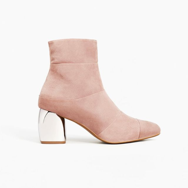 how to wear ankle boots with dresses: Mango Mirror Heel Suede Ankle Boots