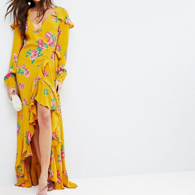 how to wear ankle boots with dresses: ASOS Long Sleeve Wrap Maxi Dress in Bold Floral