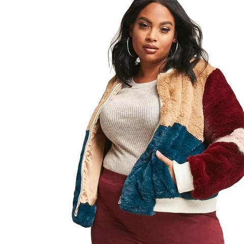 Shaci Faux-Fur Colorblock Jacket