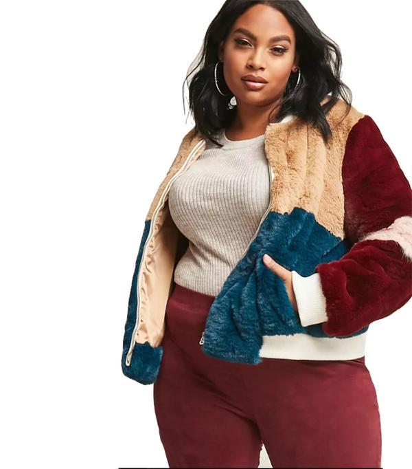Plus Size SHACI Faux Fur Colorblock Jacket