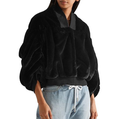 Teddy Stretch Cotton-Trimmed Faux-Shearling Bomber Jacket