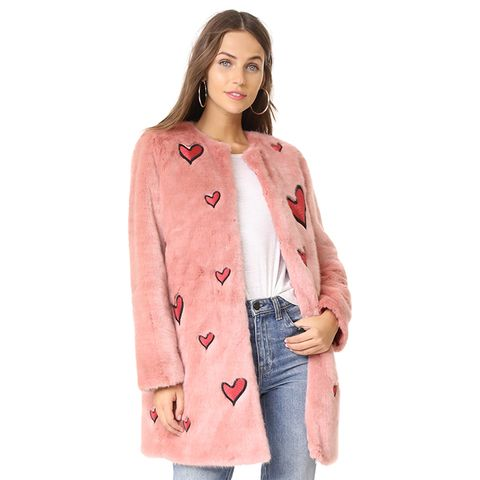 Madge Embroidered Faux-Fur Coat