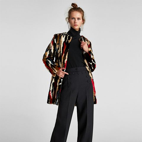 Multicolored Faux-Fur Coat