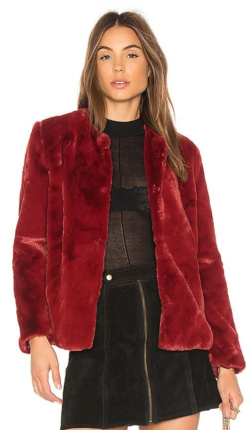 Heidi Faux Fur Jacket in Red. - size S (also in L,M,XS)