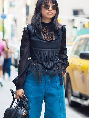 Simple Ways to Wear Wide-Leg Jeans to Work