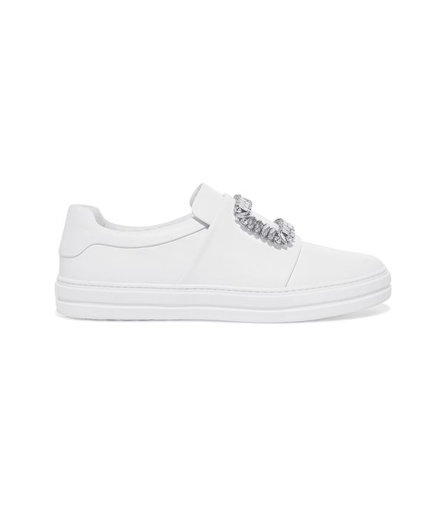 Sneaky Viv Crystal-embellished Leather Slip-on Sneakers