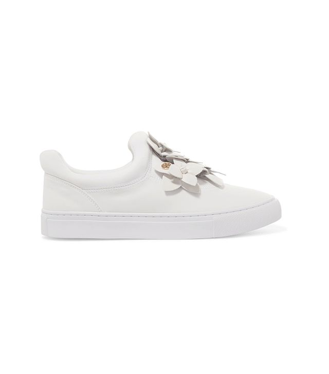 Blossom Floral-appliquéd Leather Slip-on Sneakers
