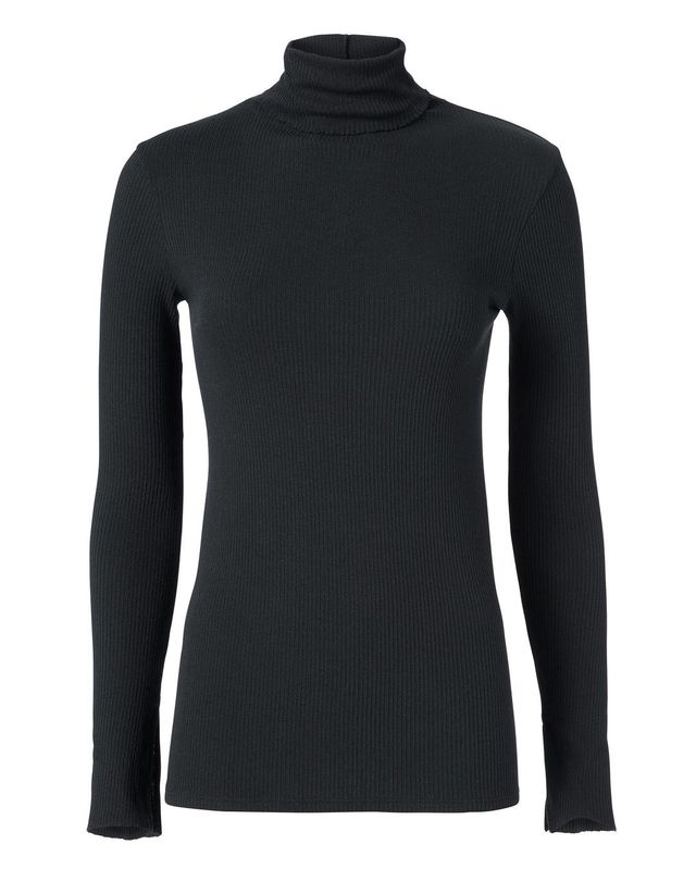 Enza Costa Black Split Sleeve Turtleneck Black M