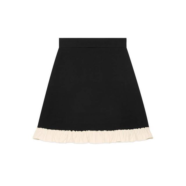 Silk wool A-line skirt