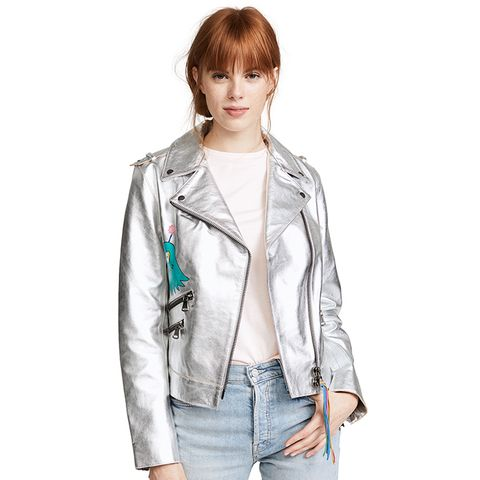 Hand Painted Metallic Leather Jacket