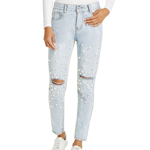 Pearl-Embellished High Rise Jeans