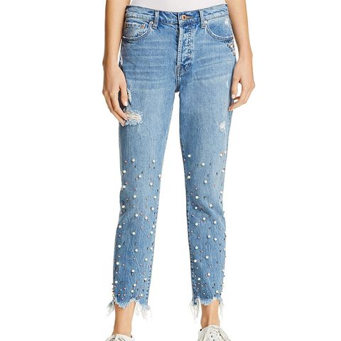 Nico Faux Pearl Embellished Jeans in La Lux