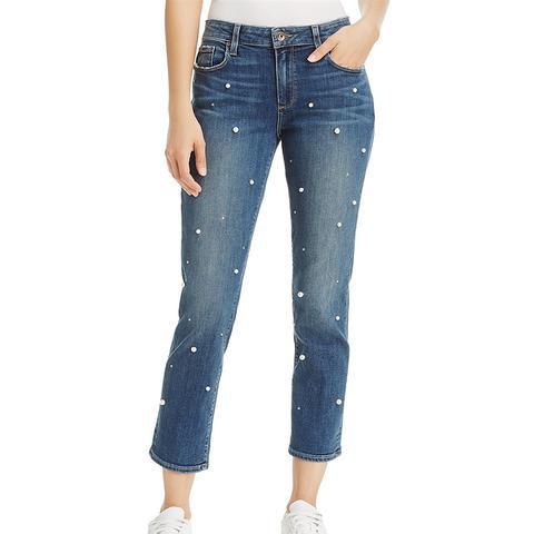 Brigitte Slim Boyfriend Crop Jeans in Allover Pearl