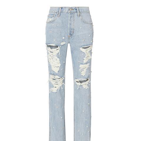 Pearl Studded Boyfriend Jeans