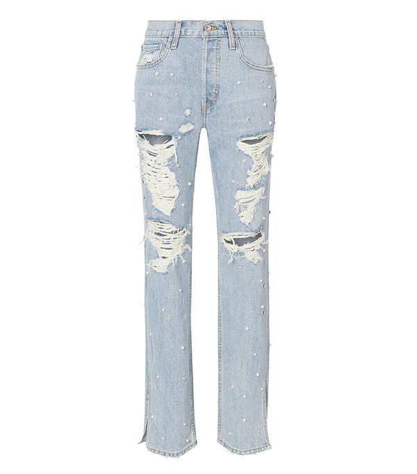 Jonathan Simkhai Pearl Studded Boyfriend Jeans Denim 27