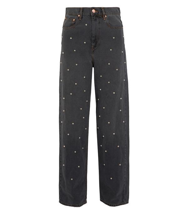 Curt Faux Pearl-embellished Low-rise Boyfriend Jeans