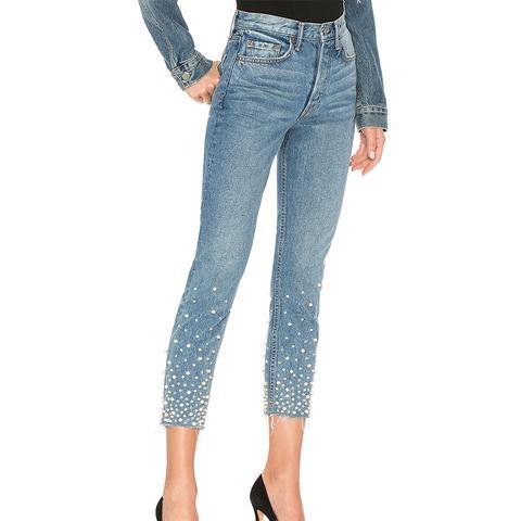 Karolina Embellished High-Rise Skinny Jeans