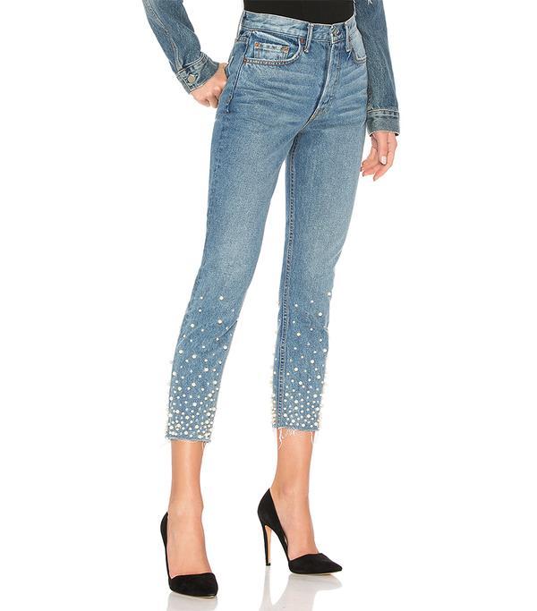Karolina Embellished High-Rise Skinny Jean in Denim Light. - size 26 (also in 25,27,28,29)