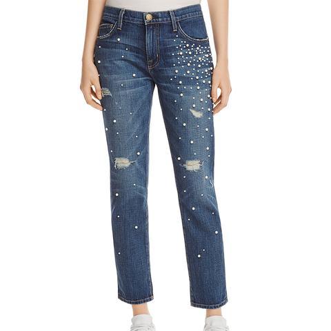 The Fling Faux Pearl Jeans in Loved Destroy