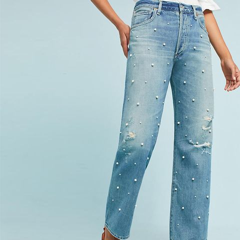 Pearled Cora High-Rise Relaxed Crop Jeans