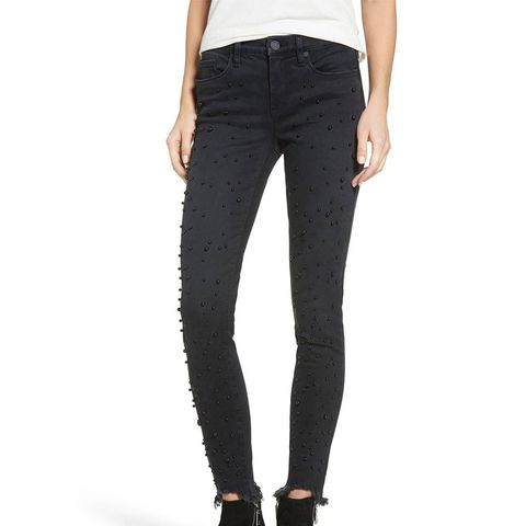 Faux Pearl Embellished Skinny Jeans