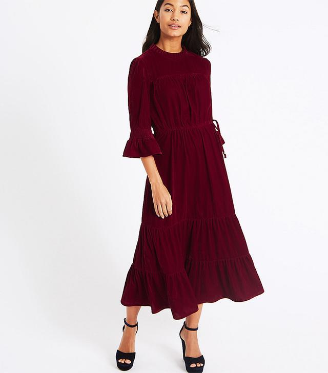 M&S Collection Velvet A-Line Maxi Dress