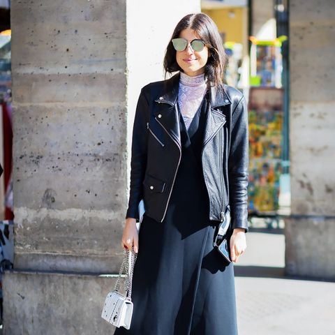 ways to wear maxi dresses in winter: layer with a turtleneck and leather jacket
