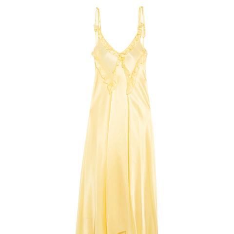 Marisa Ruffled Silk-Satin Maxi Dress