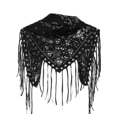 Leather-Trimmed Printed Silk-Twill Scarf