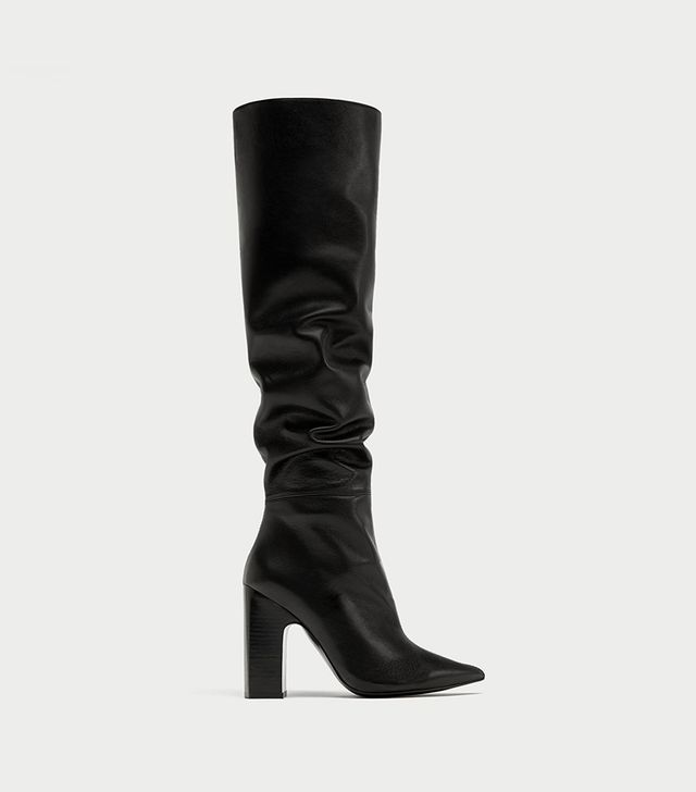 Zara Leather High Heel Boots with Leather