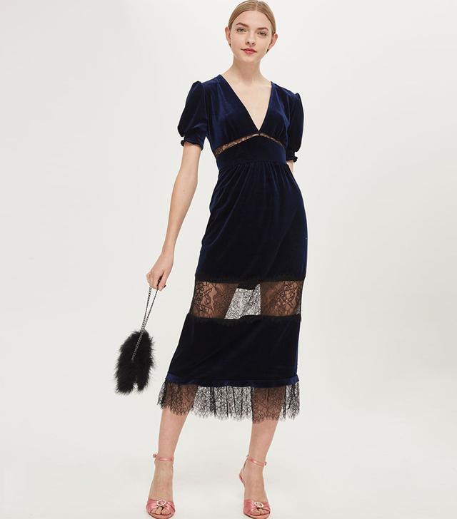 Topshop Velvey Lace Mix Midi Dress