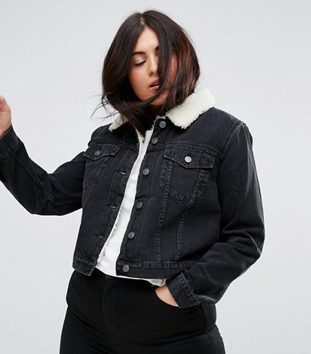 ASOS CURVE Denim Shrunken Borg Jacket in Washed Black