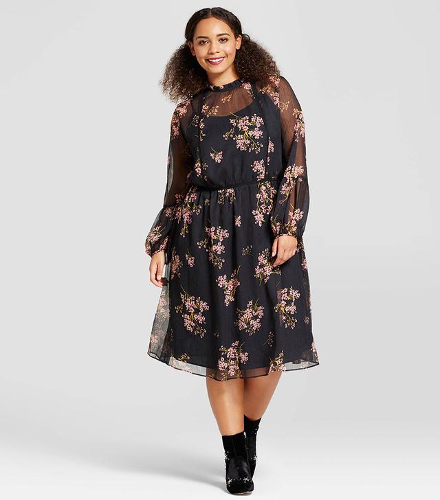 Who What Wear Lace Trim Midi Dress