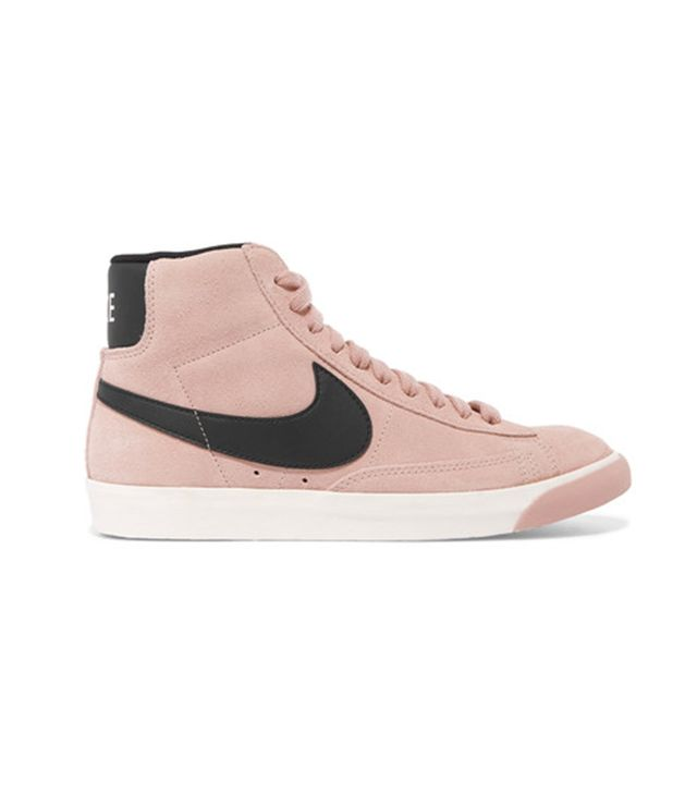 Vintage Blazer Leather-trimmed Suede High-top Sneakers