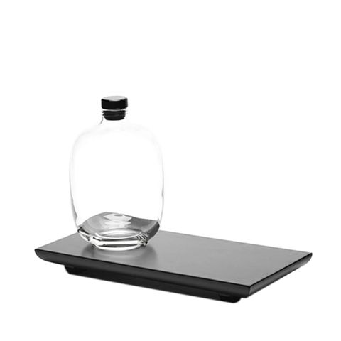 Whiskey Decanter and Black Serving Tray