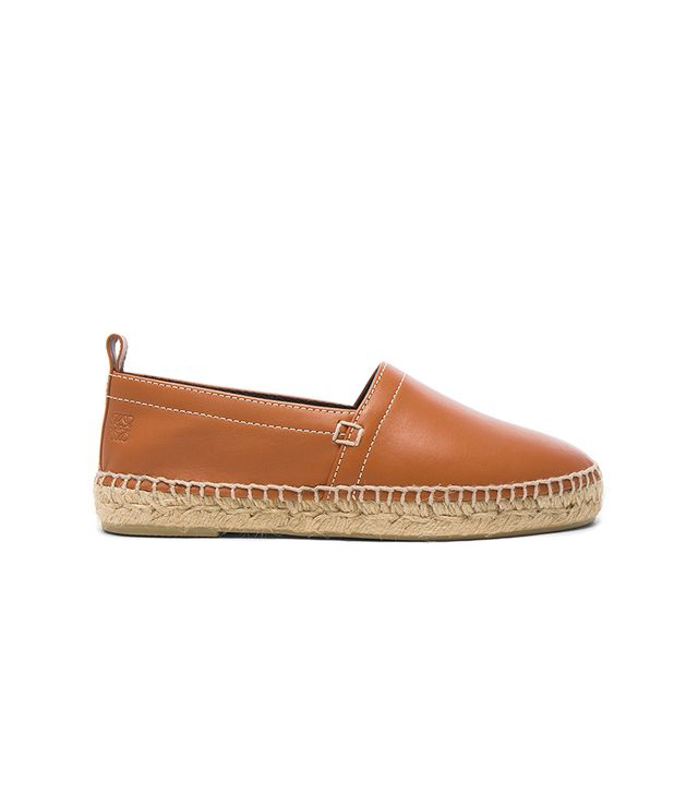Contrast Stitching Leather Espadrilles