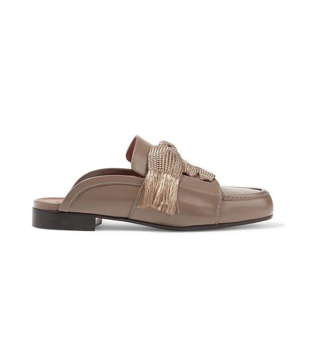 Harper Glossed-leather Slippers