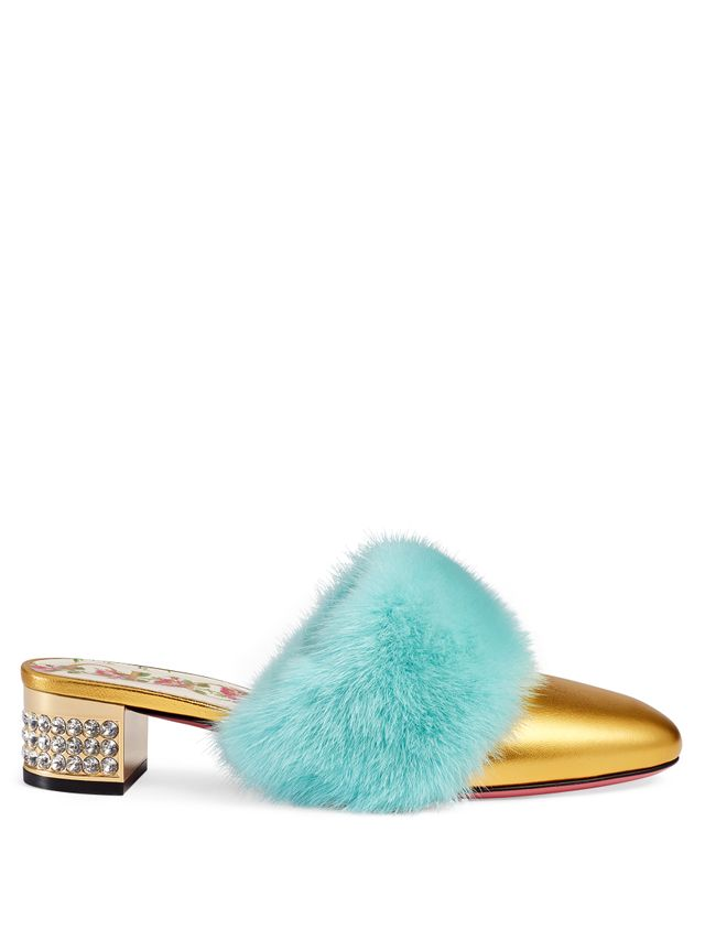 Gucci Slide With Mink Fur