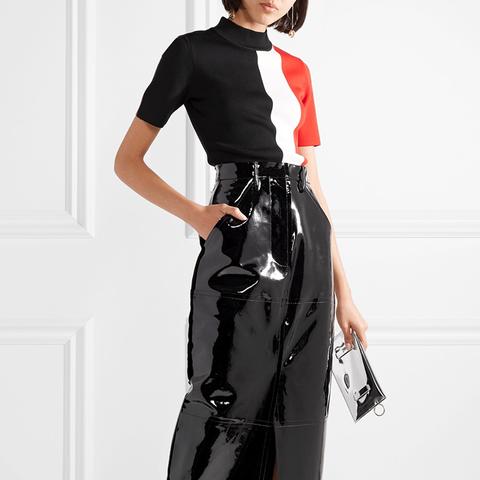 Ida Patent-Leather Midi Skirt