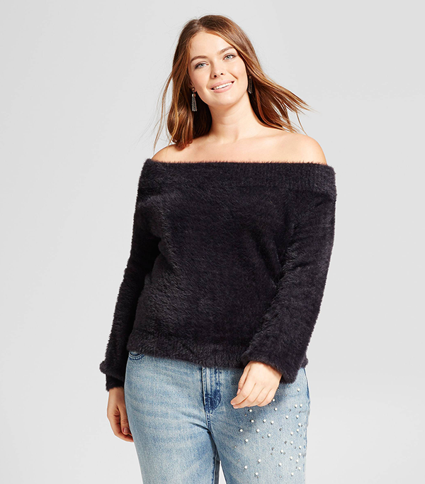 Plus Size Soft Slouchy Off The Shoulder Sweater