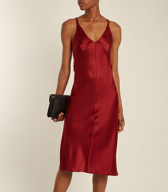 V-neck satin slip dress