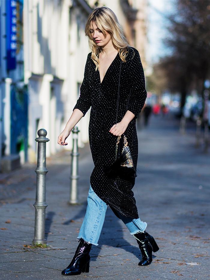 velvet dress and boots