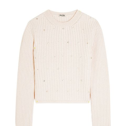 Embellished Ribbed Cashmere Sweater